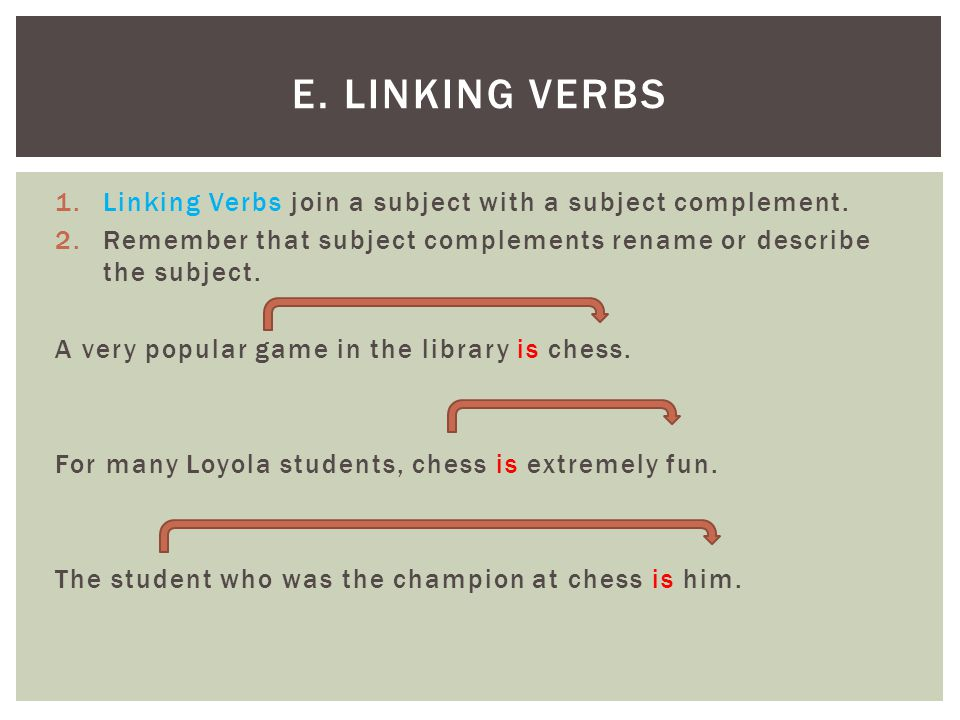 E. Linking Verbs Linking Verbs join a subject with a subject complement. Remember that subject complements rename or describe the subject.