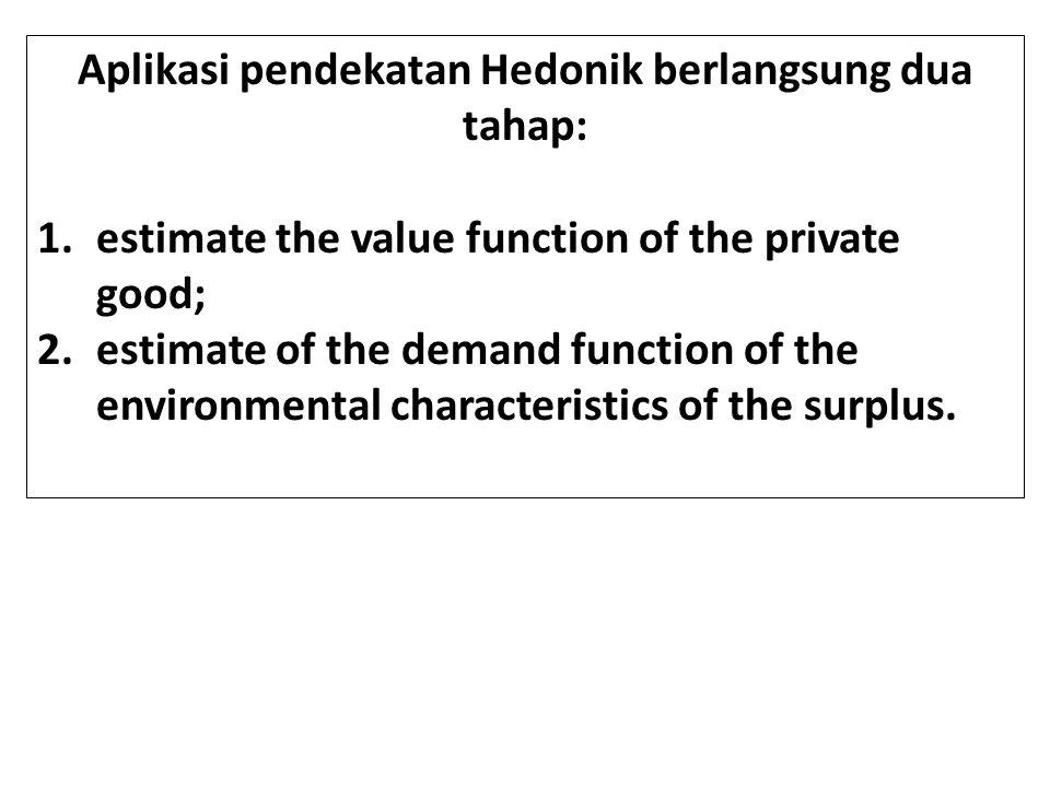 Aplikasi pendekatan Hedonik berlangsung dua tahap: