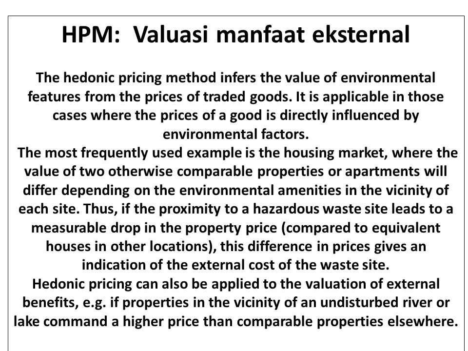 HPM: Valuasi manfaat eksternal
