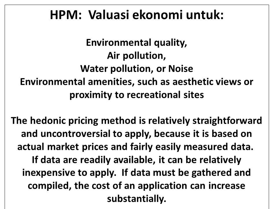 HPM: Valuasi ekonomi untuk: