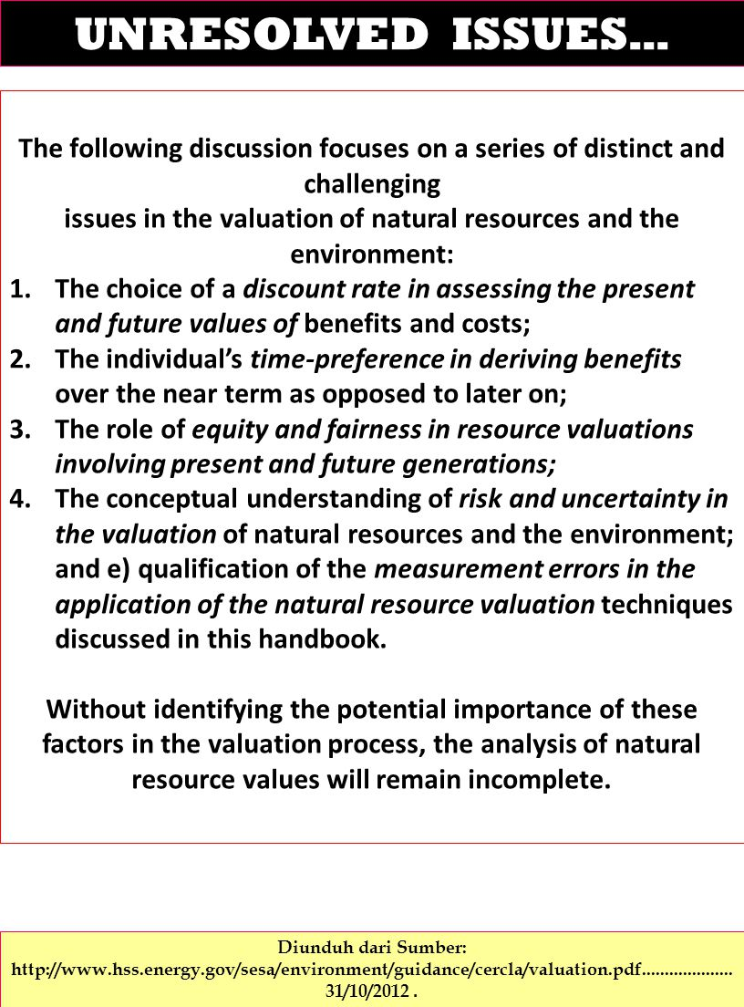 issues in the valuation of natural resources and the environment: