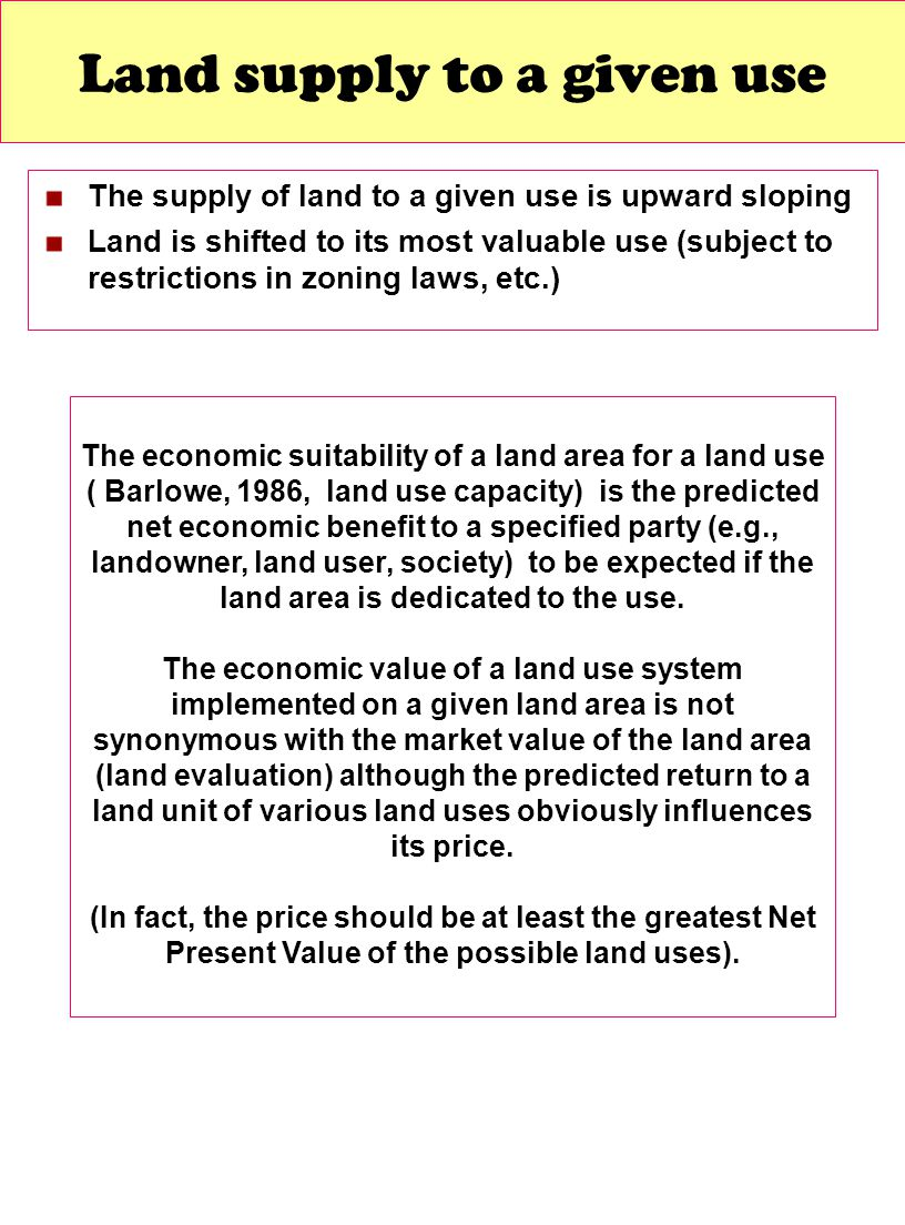 Land supply to a given use
