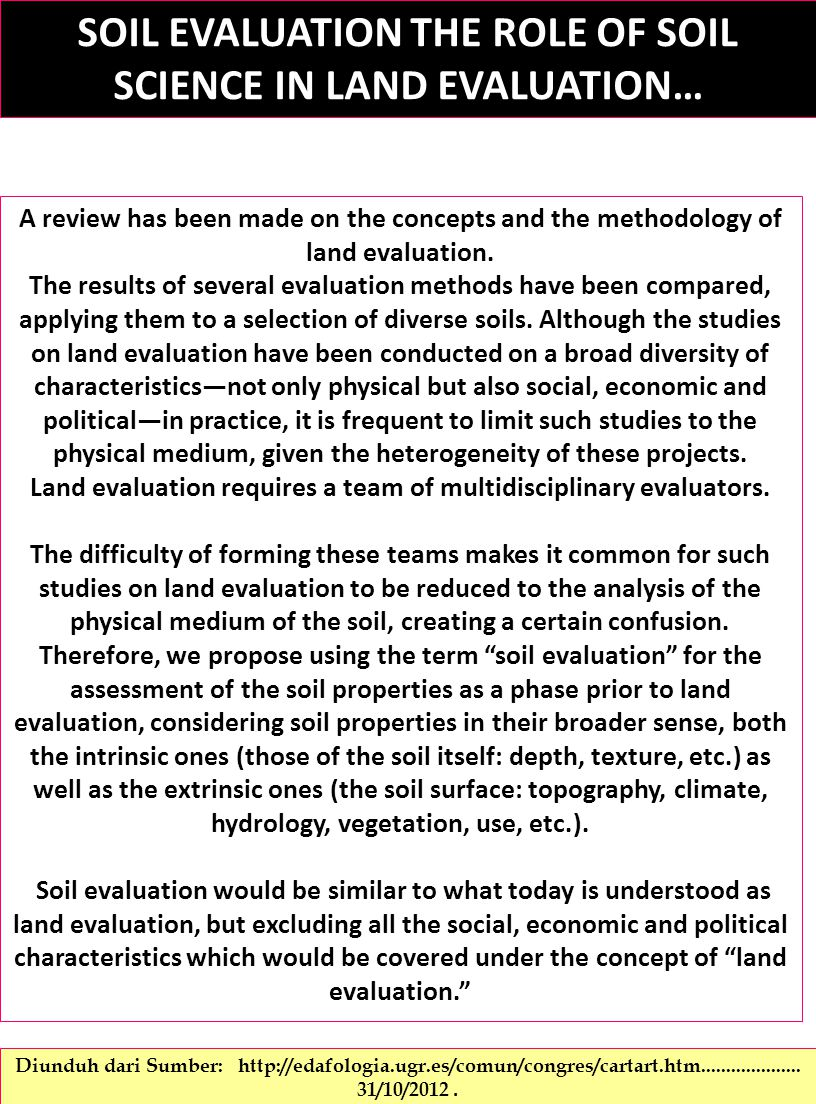 SOIL EVALUATION THE ROLE OF SOIL SCIENCE IN LAND EVALUATION…