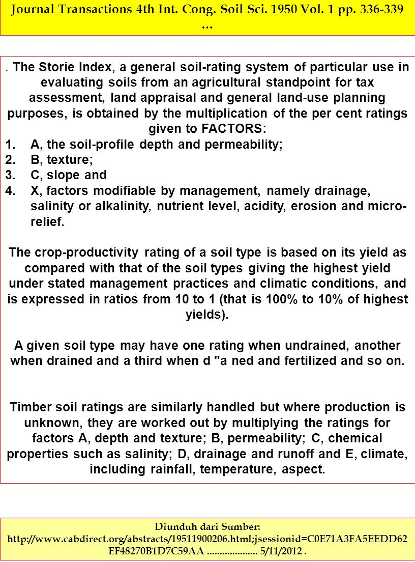 Rating soils for agricultural, forest and grazing use.