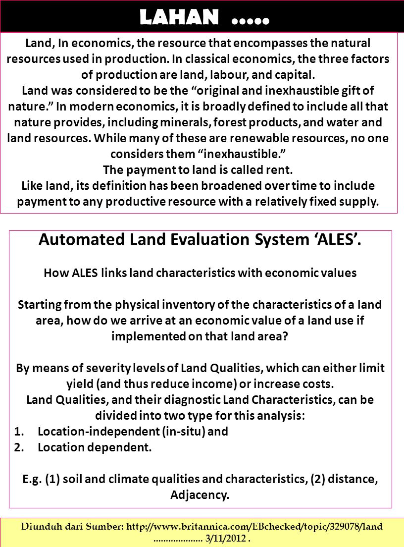 LAHAN ….. Automated Land Evaluation System 'ALES'.