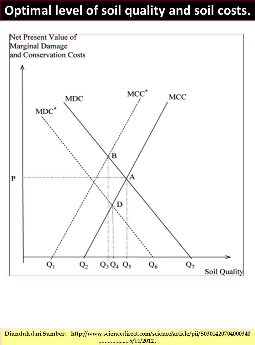 Optimal level of soil quality and soil costs.