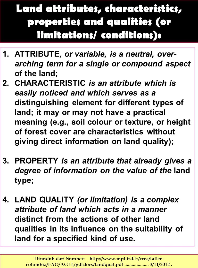 Land attributes, characteristics, properties and qualities (or limitations/ conditions):