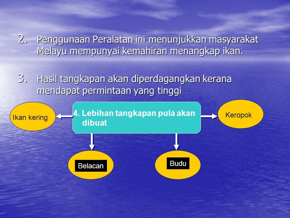 Penggunaan Peralatan ini menunjukkan masyarakat Melayu mempunyai kemahiran menangkap ikan.