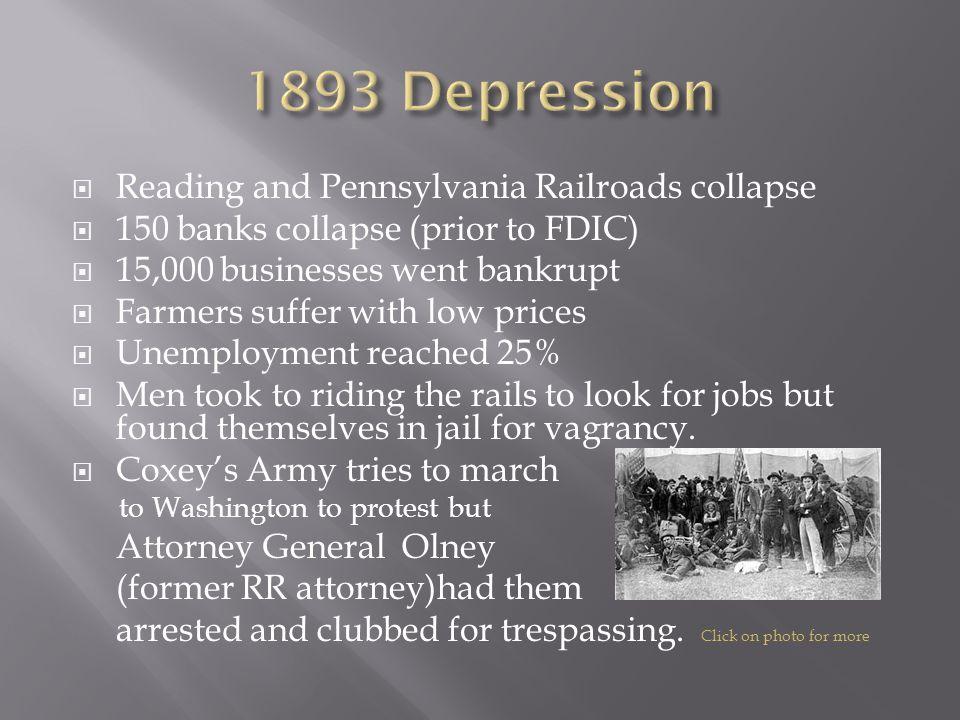 1893 Depression Reading and Pennsylvania Railroads collapse