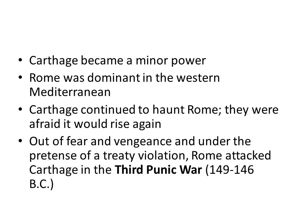 Carthage became a minor power