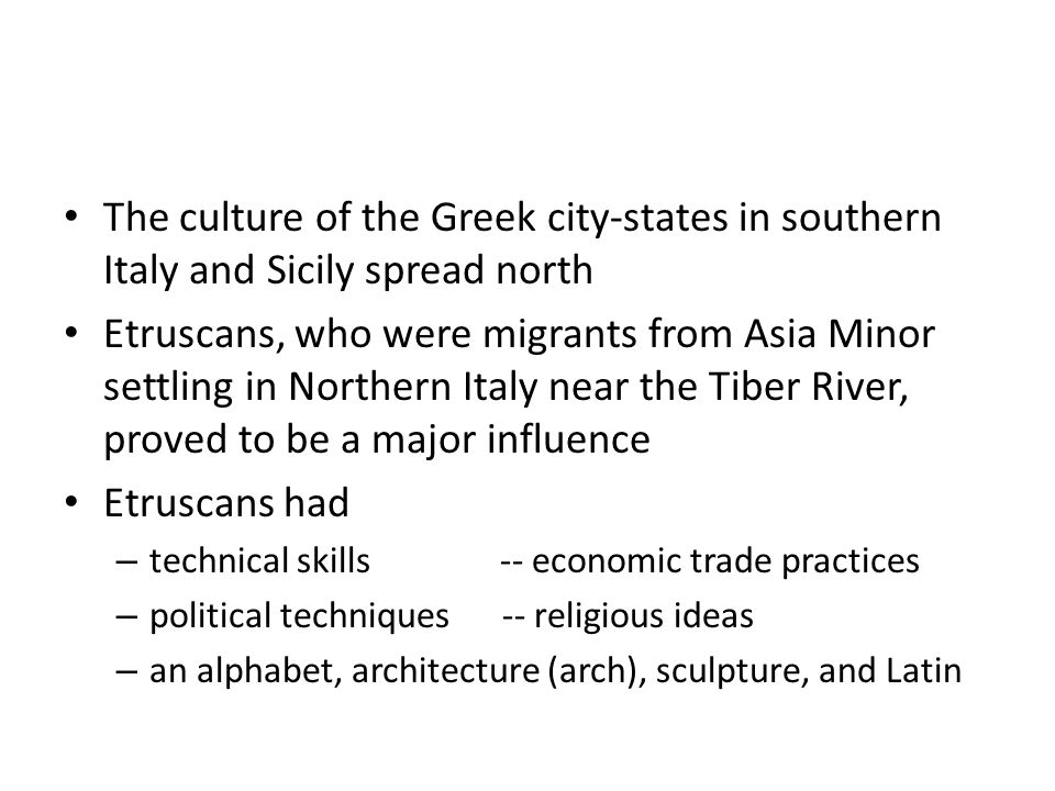 The culture of the Greek city-states in southern Italy and Sicily spread north