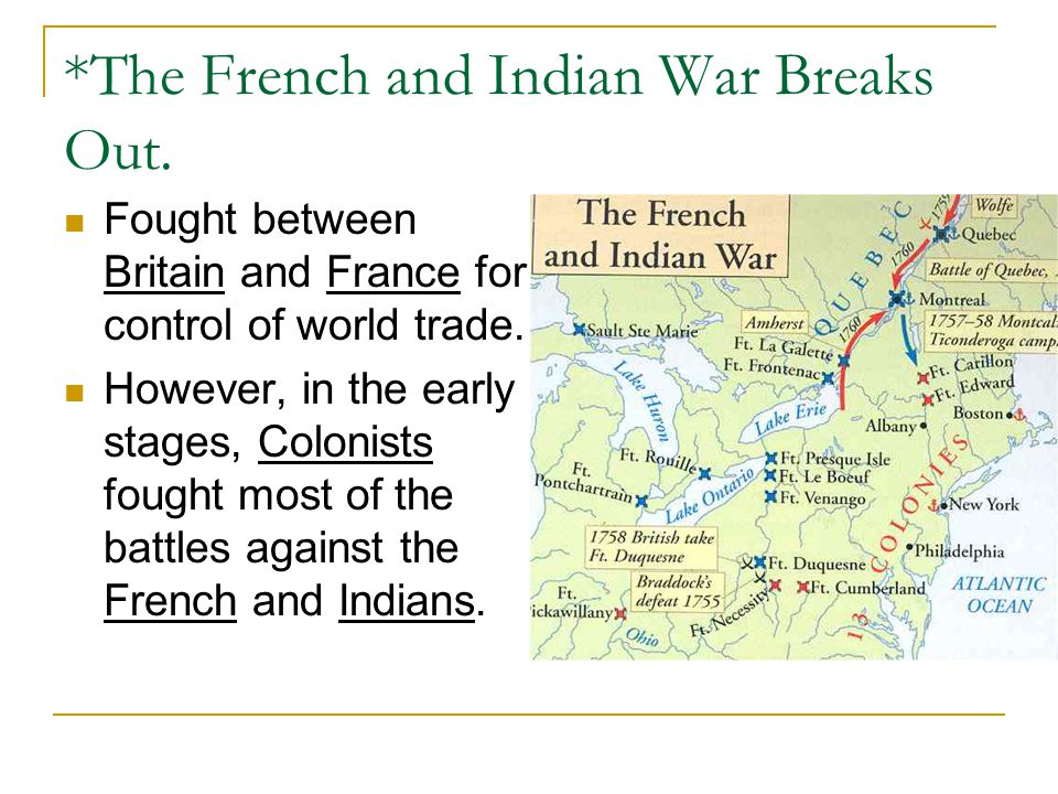 *The French and Indian War Breaks Out.