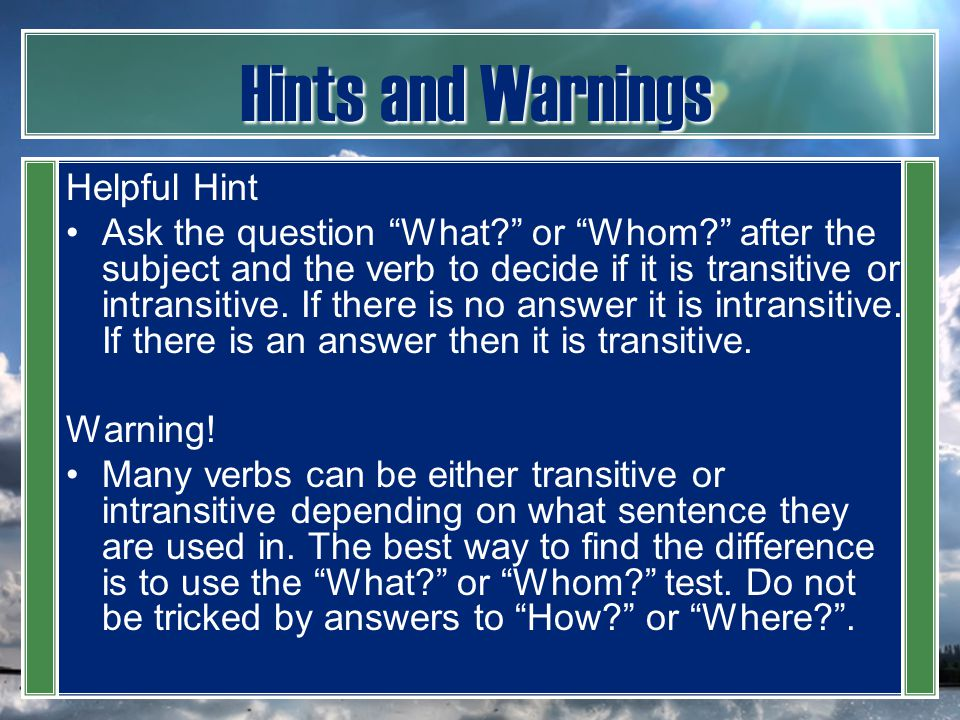 Hints and Warnings Helpful Hint