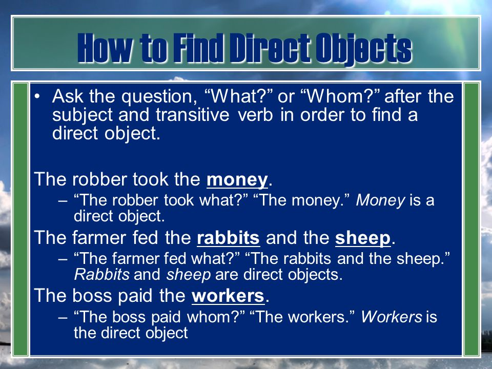 How to Find Direct Objects