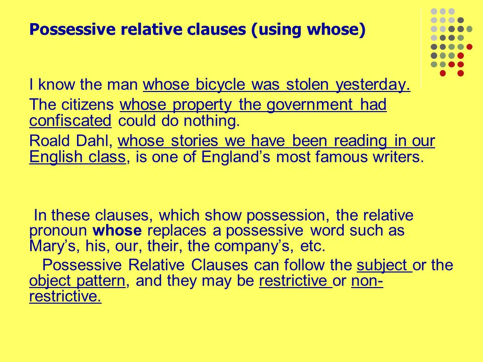 Possessive relative clauses (using whose)
