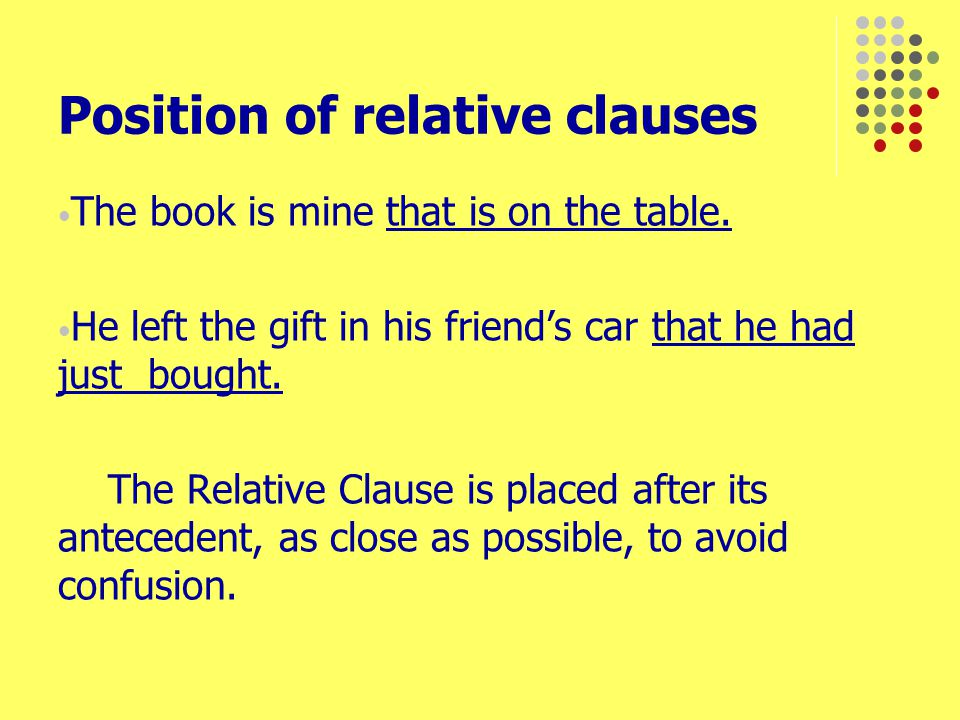 Position of relative clauses