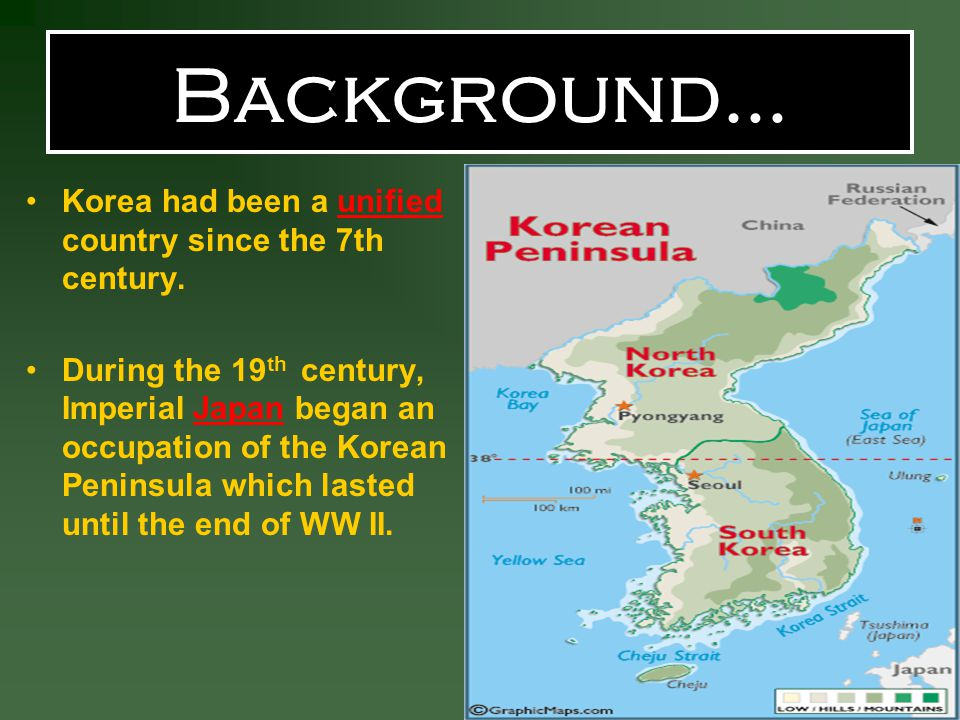 Background… Korea had been a unified country since the 7th century.