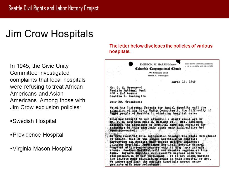Jim Crow Hospitals The letter below discloses the policies of various hospitals.