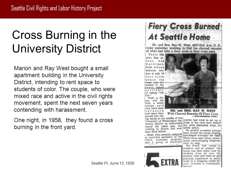 Cross Burning in the University District