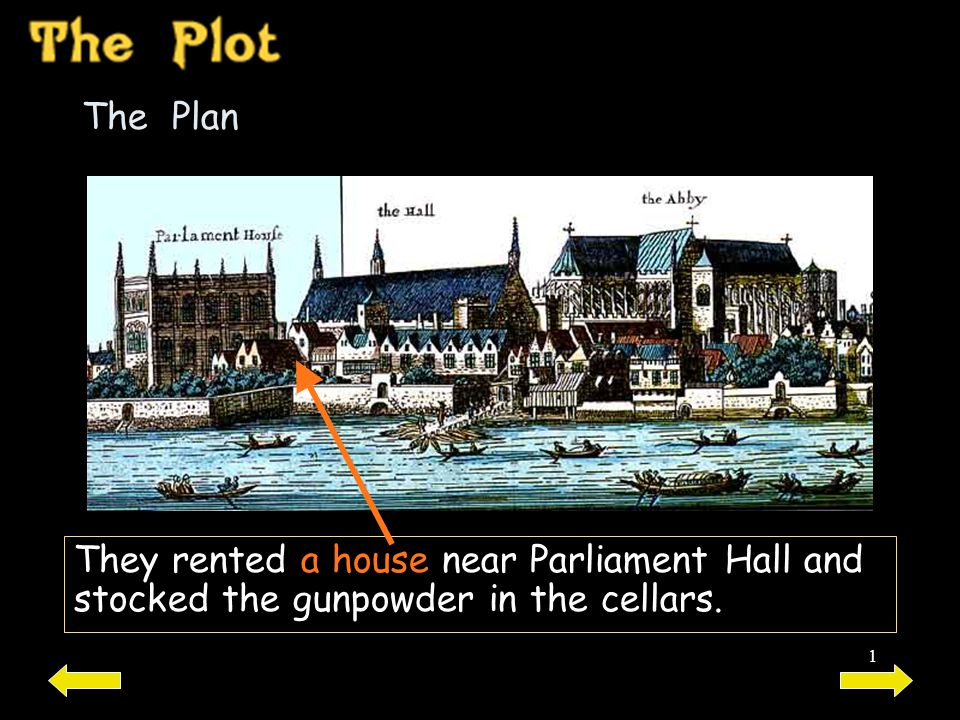 The Plan They rented a house near Parliament Hall and stocked the gunpowder in the cellars.