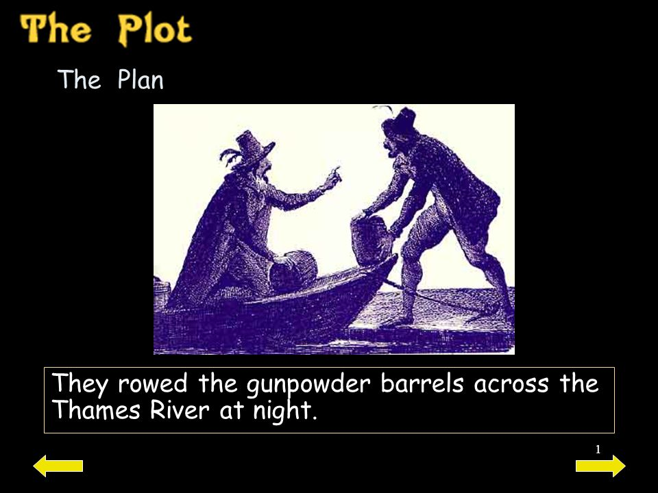 The Plan They rowed the gunpowder barrels across the Thames River at night.