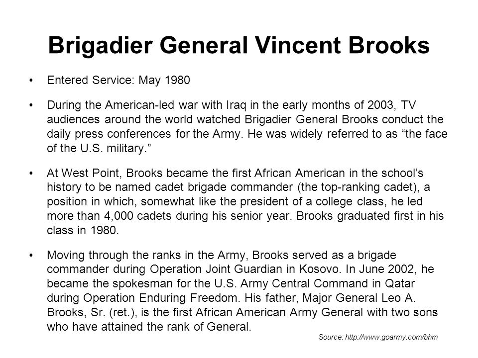 Brigadier General Vincent Brooks