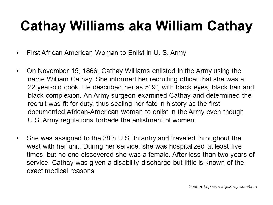 Cathay Williams aka William Cathay