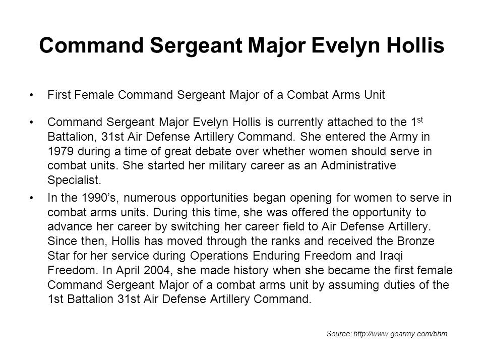 Command Sergeant Major Evelyn Hollis