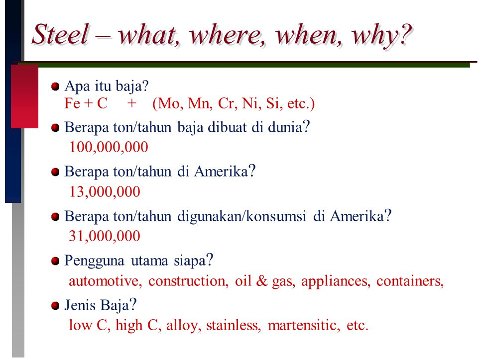 Steel – what, where, when, why