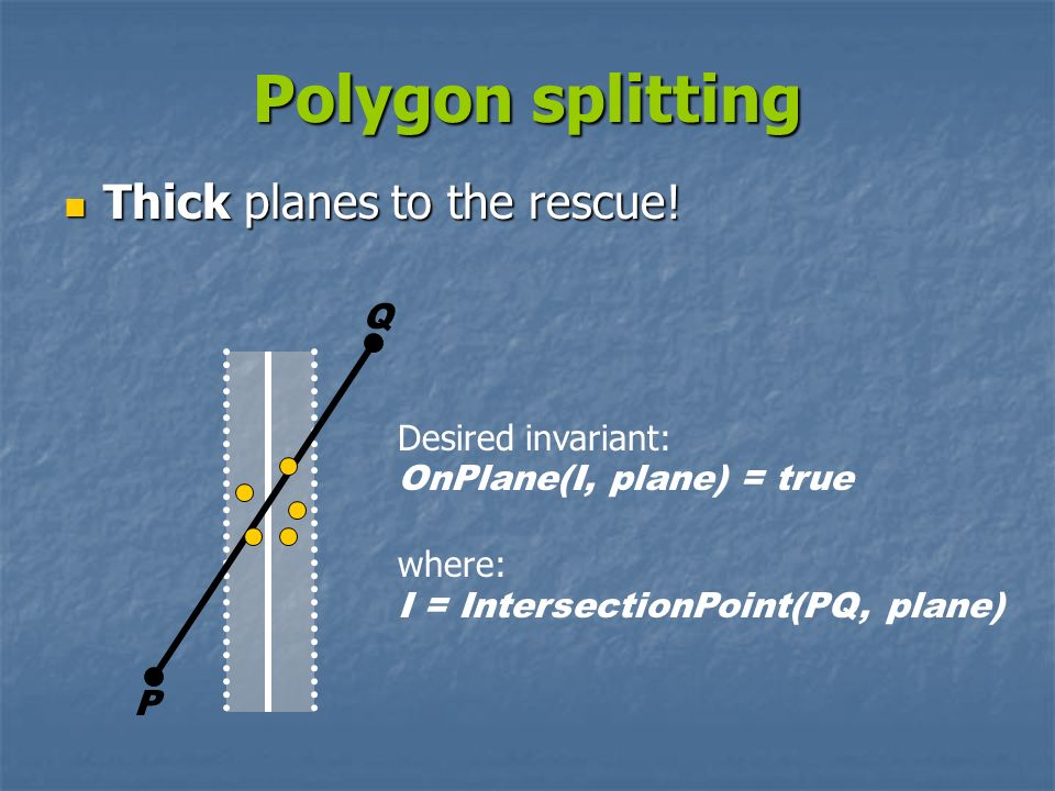 Polygon splitting Thick planes to the rescue! Q Desired invariant: