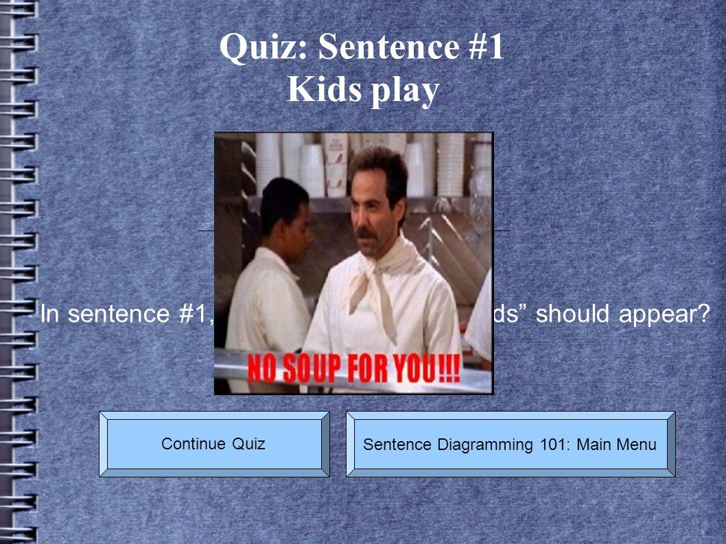 Quiz: Sentence #1 Kids play