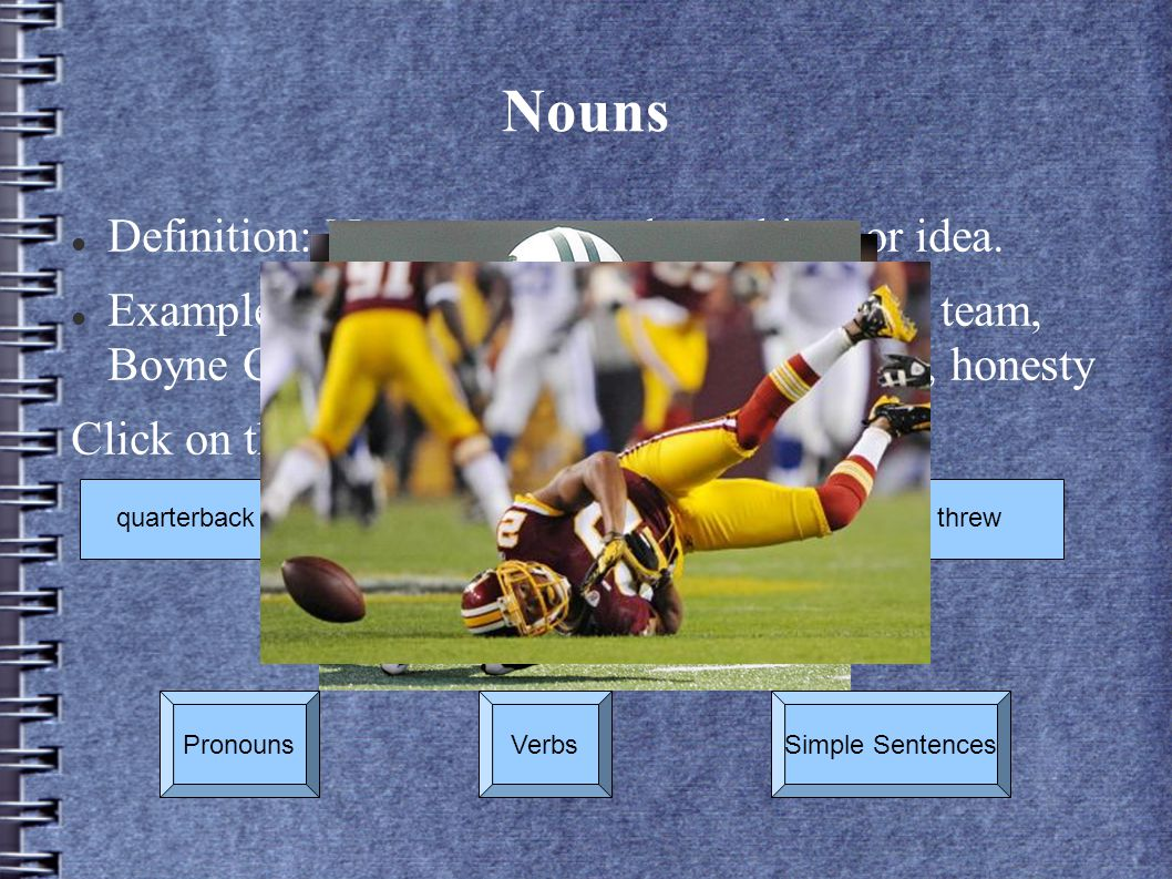 Nouns Definition: Names person, place, thing, or idea.