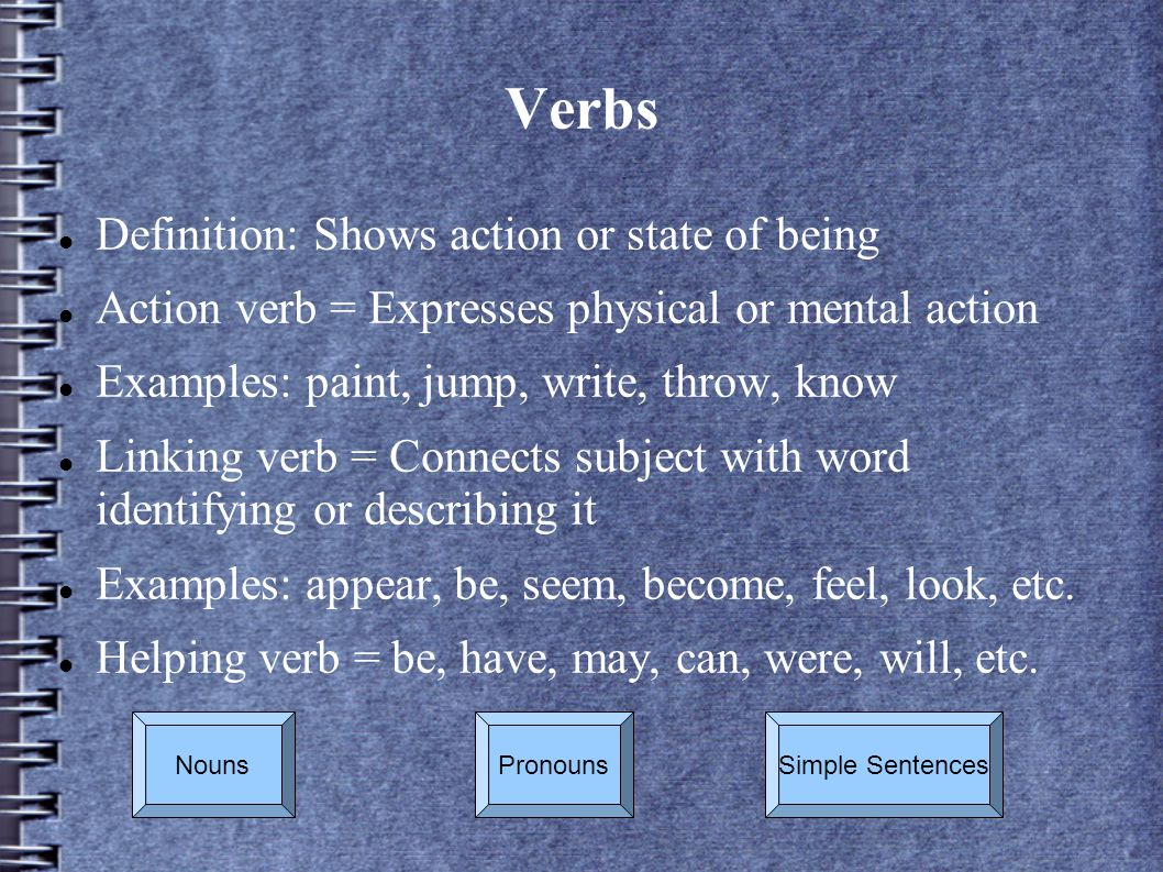 Verbs Definition: Shows action or state of being