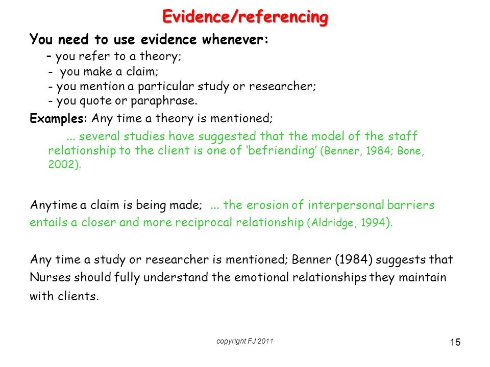 Evidence/referencing