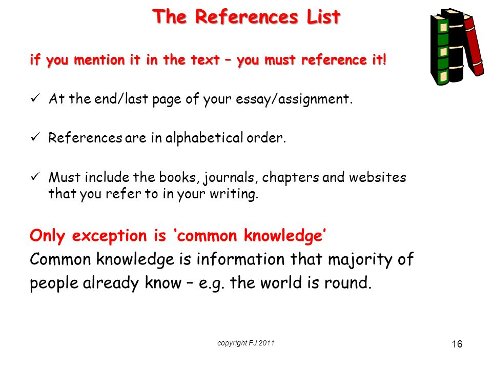 The References List Only exception is 'common knowledge'