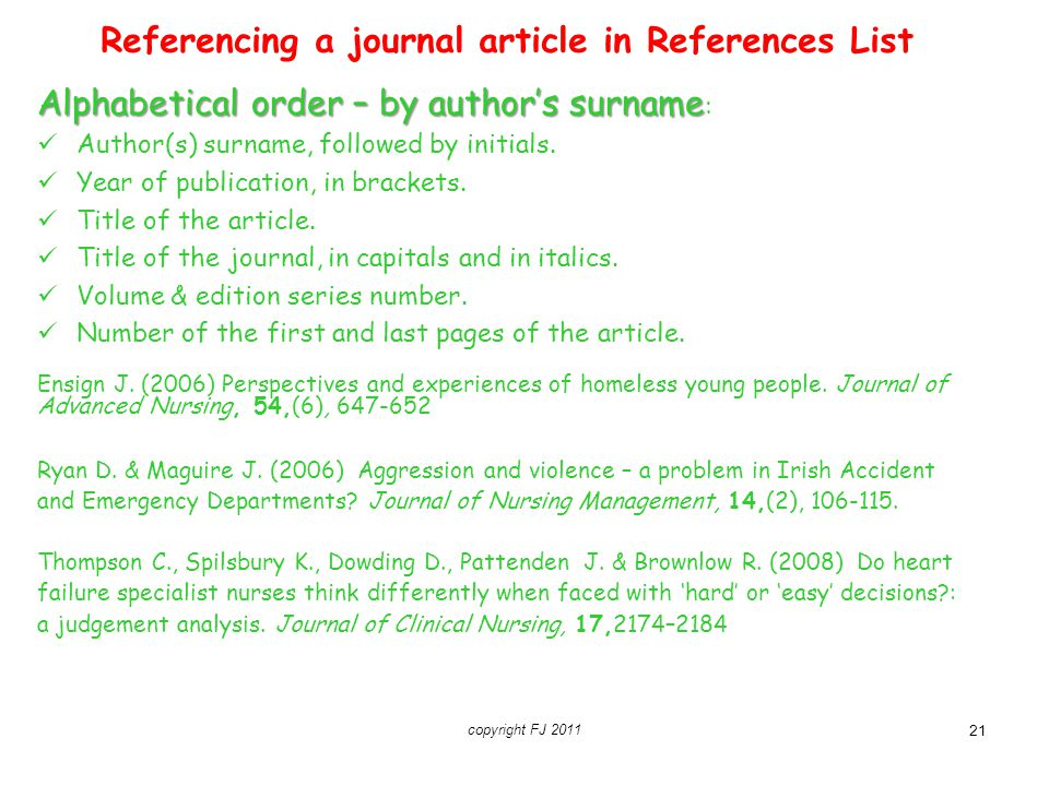 Referencing a journal article in References List