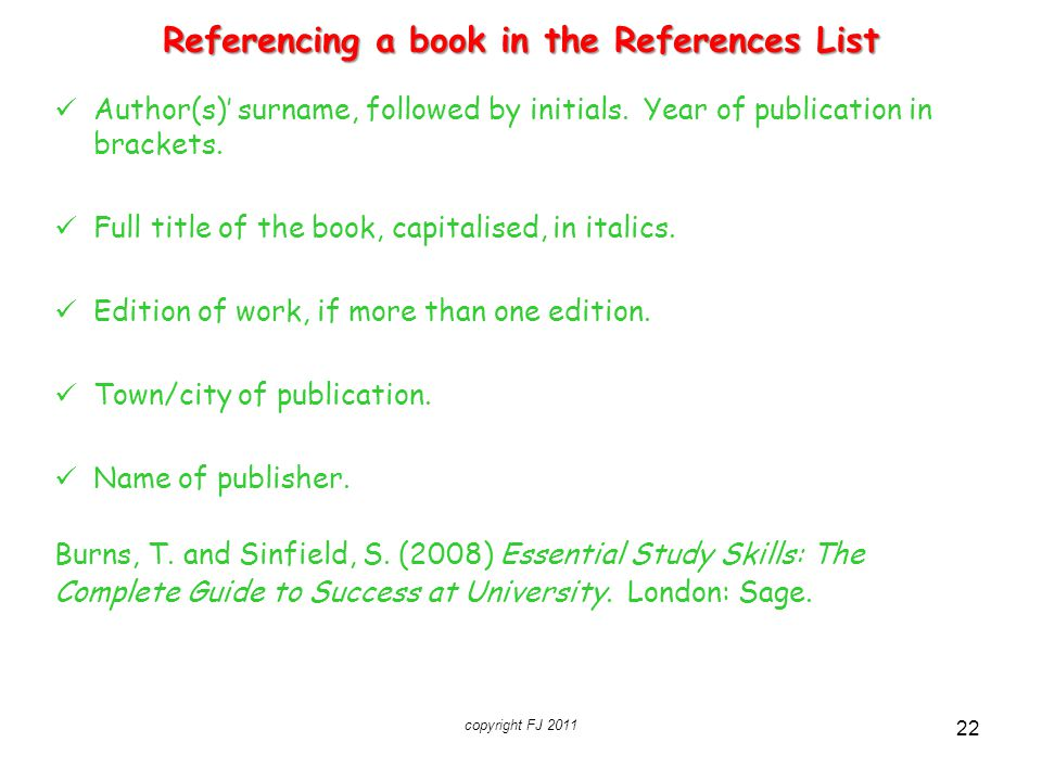 Referencing a book in the References List