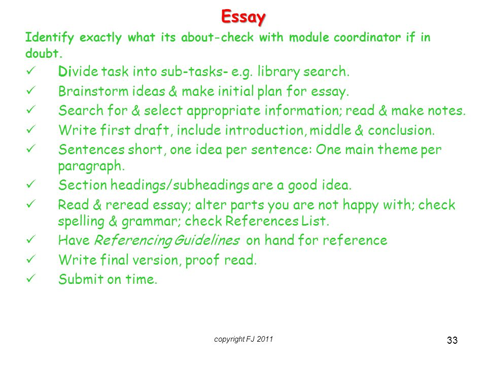 Essay Divide task into sub-tasks- e.g. library search.
