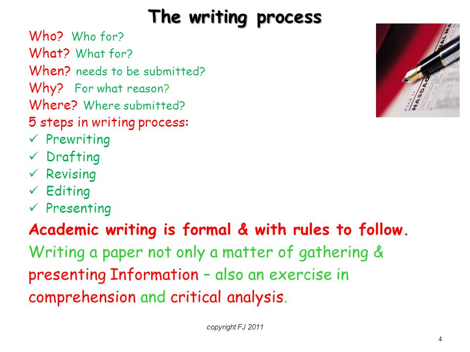 The writing process Academic writing is formal & with rules to follow.
