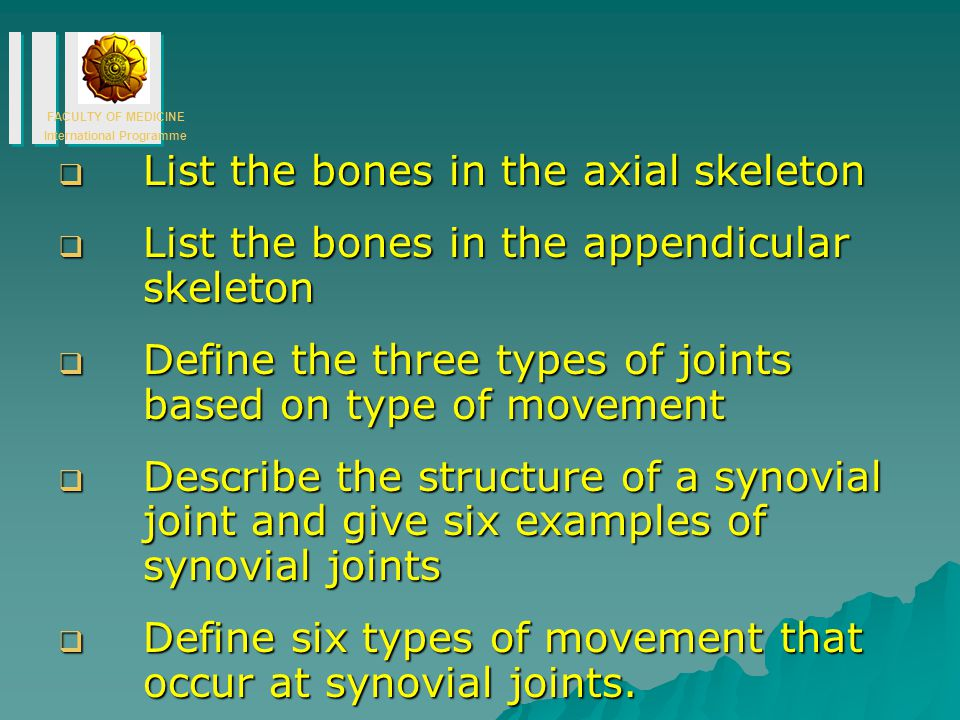 List the bones in the axial skeleton