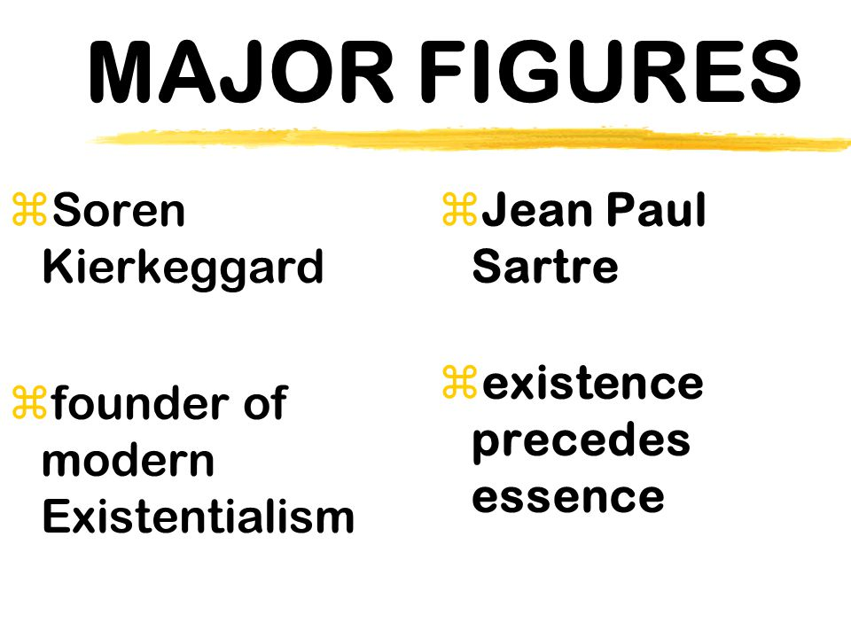 MAJOR FIGURES Soren Kierkeggard founder of modern Existentialism