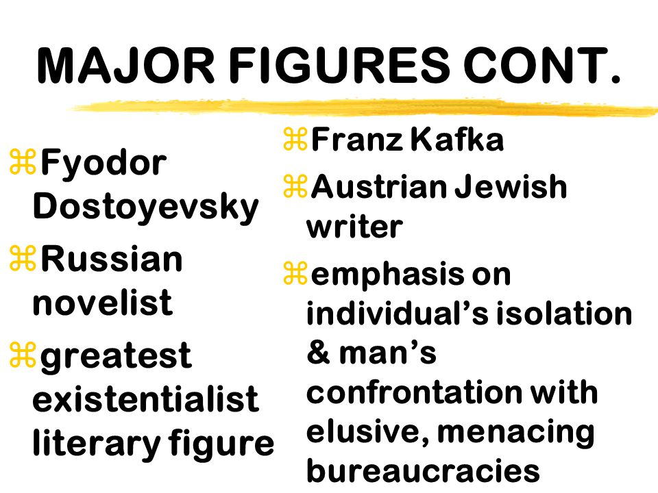MAJOR FIGURES CONT. Fyodor Dostoyevsky Russian novelist