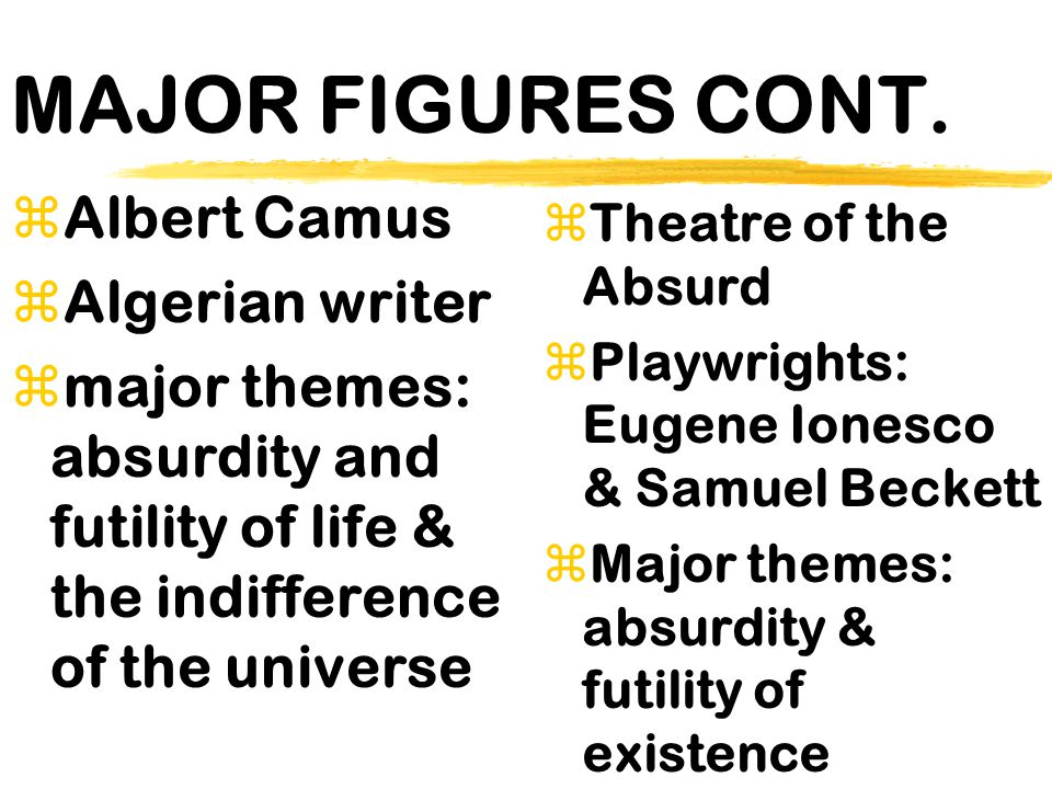 MAJOR FIGURES CONT. Albert Camus Algerian writer