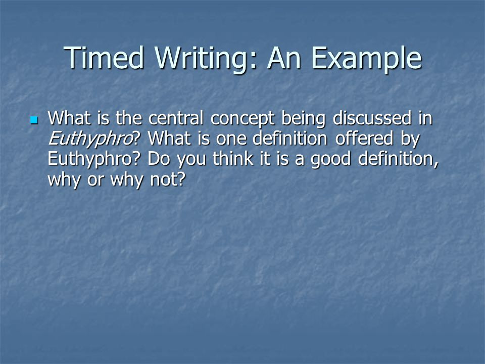 Timed Writing: An Example