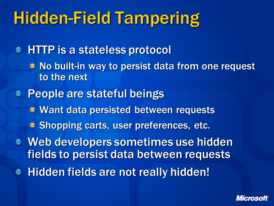 Hidden-Field Tampering
