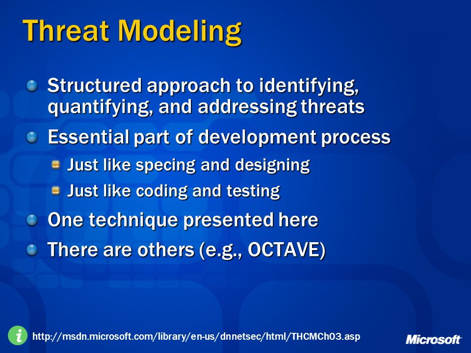 二○一七年四月十三日 Threat Modeling. Structured approach to identifying, quantifying, and addressing threats.