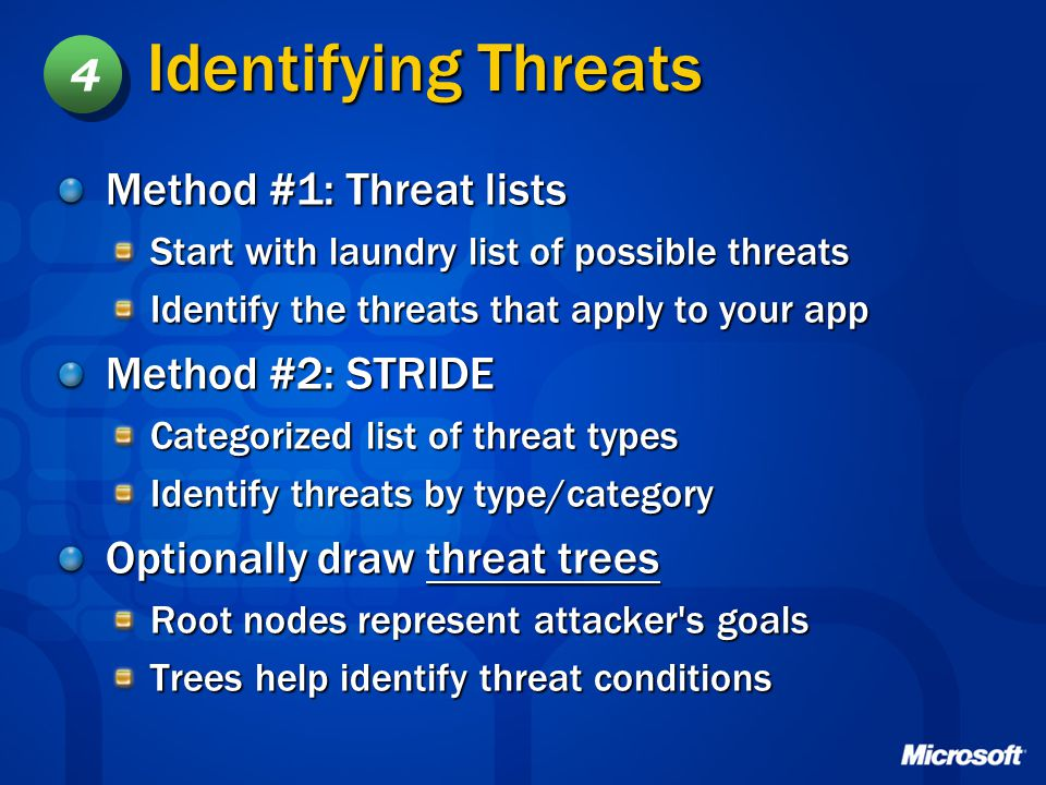 Identifying Threats 4 Method #1: Threat lists Method #2: STRIDE