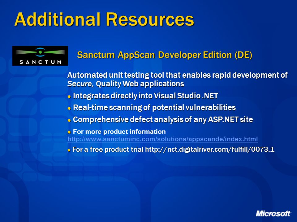 Additional Resources Sanctum AppScan Developer Edition (DE)