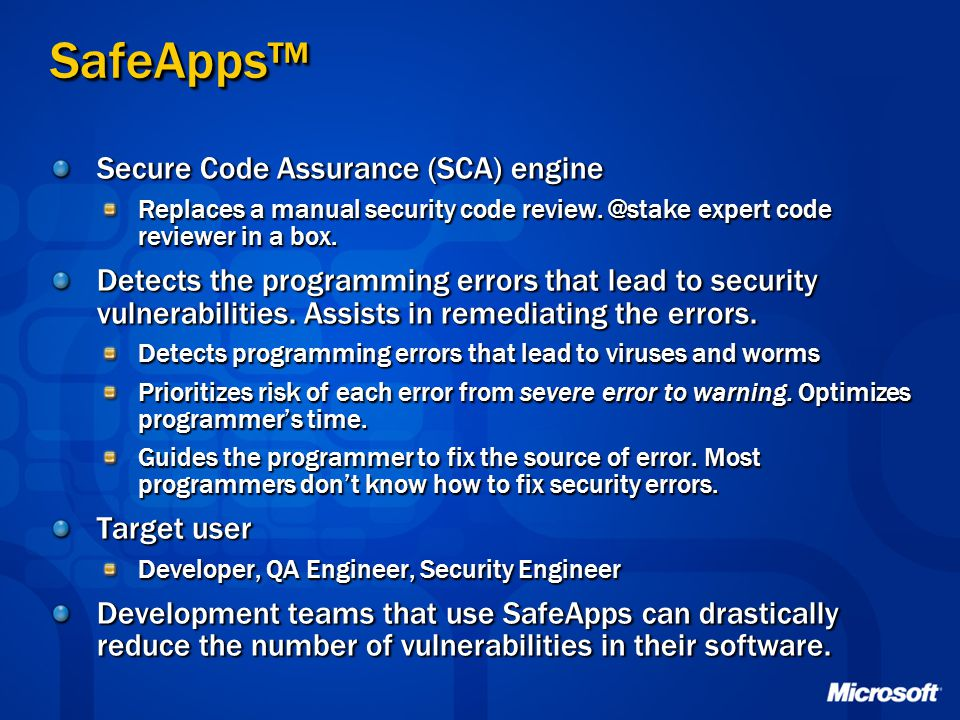 SafeApps™ Secure Code Assurance (SCA) engine