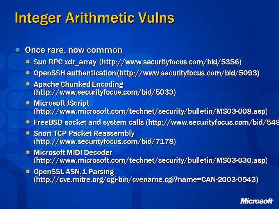 Integer Arithmetic Vulns